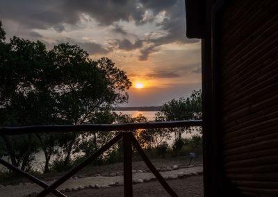 Sonnenuntergang über dem Kazinga Kanal