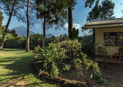 Blick auf die Virunga Vulkane vom Garten des Travellers Rest Hotels