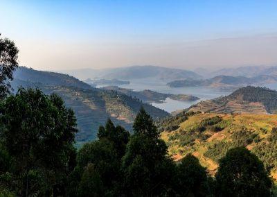 Aussicht über den Lake Bunyonyi